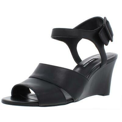 NINE WEST Womens VAHAN Leather Wedge Sandal