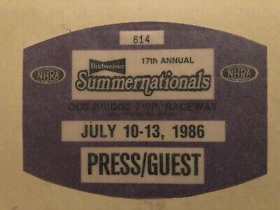 Details About Orig Nhra 17th Annual Summernationals Raceway Park Press Guest Sticker July 1986 In 2020 Nhra Stickers July