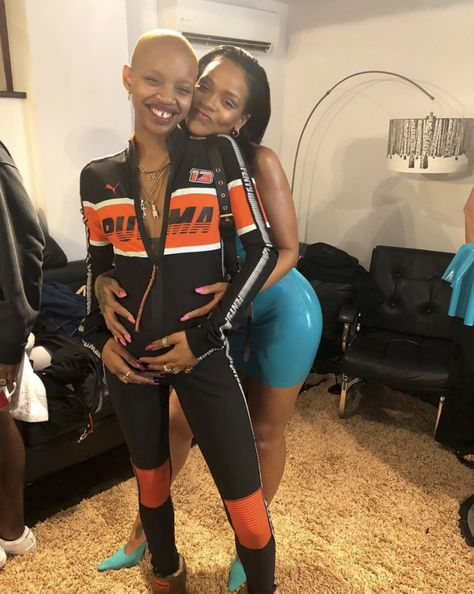 Rihanna hugged up with her pregnant sister-friend Slick Woods