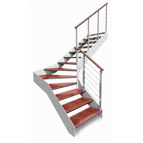 Imagine Linear 1 4 Tournant Escalier Bois Metal Escalier