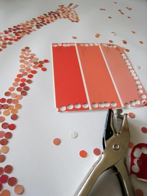 DIY: Paint-chip art Here's an easy way to make something spectacular for your walls – paint-chip punch-out art! You need: paint chips, a hole punch, a glue stick, a large piece of heavy weight paper. Paint Chip Art, Paint Chips, Paint Sample Art, Paint Swatch Art, Fun Crafts, Crafts For Kids, Arts And Crafts, Creative Crafts, Crafts Cheap