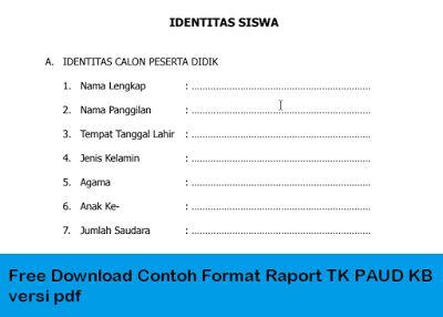 Free Download Contoh Format Raport Tk Paud Kb Versi Pdf Pendidikan Kurikulum Pendidikan Anak Usia Dini