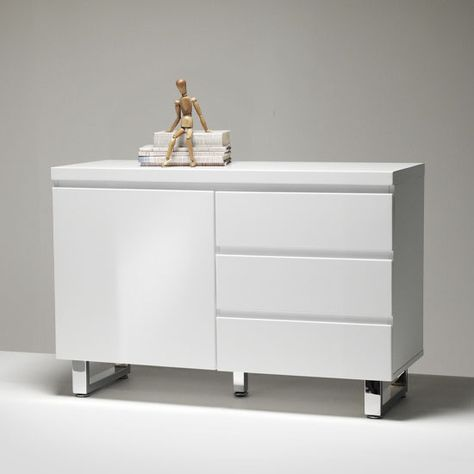 sydney small sideboard in high gloss white 3 drawer 1 door | high, Wohnzimmer dekoo