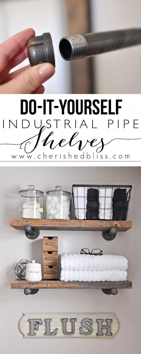 Learn how to Build these Easy DIY Industrial Pipe Shelves for extra bathroom storage. Industrial Pipe Shelves, Wood And Pipe Shelves, Pipe Shelving, Plumbing Pipe Shelves, Industrial Closet, Wood Shelf, Industrial Style, Floating Shelves Bathroom, Diy Bathroom Shelving