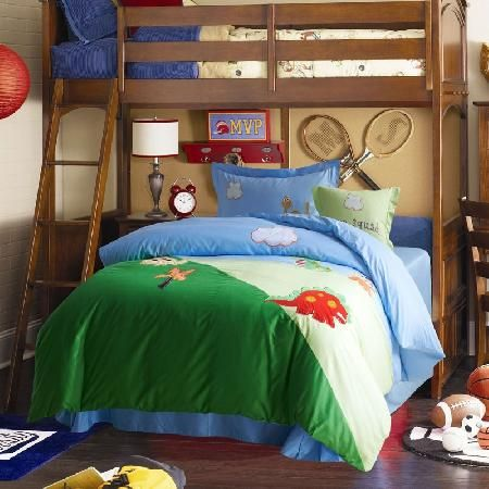BIGCARJOB Dinosaur Print Bedding Cover Kids Boys Bedroom Dormroom Bed Duvet Cover Sets Black Lining Queen Size 88x88inches