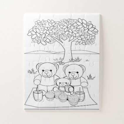 Teddy Bear Picnic Coloring Page Jigsaw Puzzle Zazzle Com