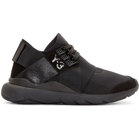 e167f5d243a8c Y 3 Black Neoprene Low-Top Qasa Elle Sneakers (1.205 BRL) ❤ liked on  Polyvore featuring shoes