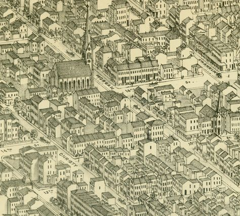 Aug. 10, 1863: While on leave, James stayed with Molly's brother, William C. Wilson, who lived at 326 Morgan, near the intersection of 15th and Morgan in the right center area of this map. Today, Morgan is known as Delmar. Detail from Plate 43 of Pictorial St. Louis, the great metropolis of the Mississippi Valley: a topographical survey drawn in perspective. Compiled by Camille N. Dry, & edited by Rich. J. Compton. St. Louis: Compton & Co., 1876. Missouri History Museum.