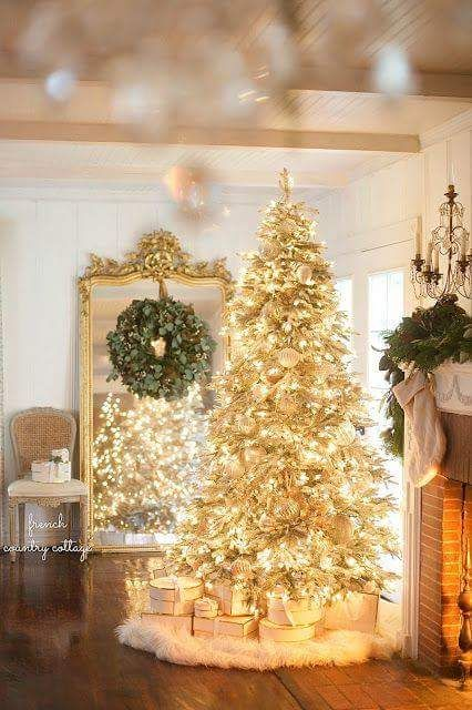 Awesome Yellow Lights For White Christmas Tree Cottage Christmas French Country Christmas Christmas Home