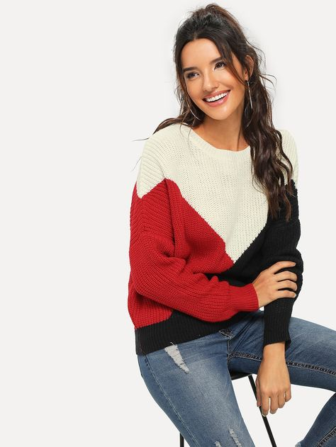 Drop Shoulder Color Block Sweater -SheIn(Sheinside)
