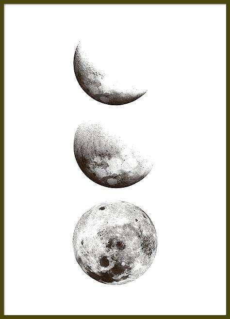 Schwarz Weiss Plakat Mit Fotos Vom Mond Aquarell Malen Mond