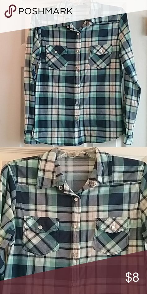 EUC Womens button down top juniors size L EUC This womens navy, mint, white, and tan button down shirt is a juniors size large. No rips or stains and comes from a smoke and pet free home.  Made of: 100% Polyester  Measurements are: 25 inches from shoulder to bottom, 19 inches from armpit to armpit, and sleeve length is 23 inches. Passport Tops Button Down Shirts