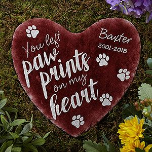 Personalised Pet Memorial Heart Dog Cat Leave Paw Prints Plaque Sign Pet Loss