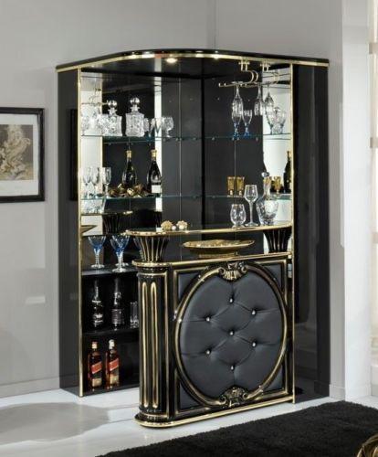 Tiffanie Italian Made Home Corner Bar Black Gold Eco Leather Front