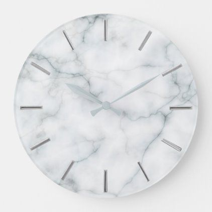 Faux White Marble Stone Large Clock Zazzle Com In 2020 Large Clock Clock White Marble