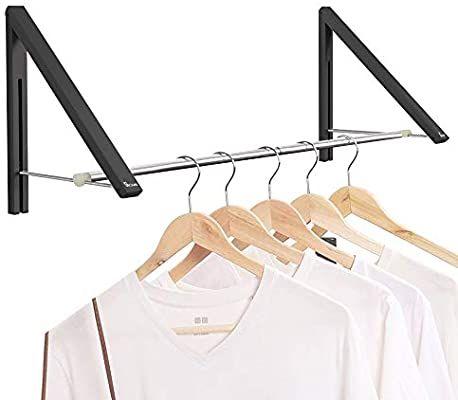 Amazon Com Anjuer Retractable Clothes Rack Wall Mounted Folding