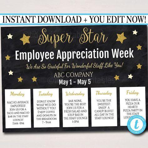 Staff Appreciation Week Itinerary Poster - Appreciation Week Schedule Events,  Fundraiser Printables