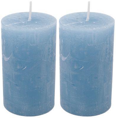 2 Stumpenkerzen Kerzen Hellblau Blau 100 60 Paraffin