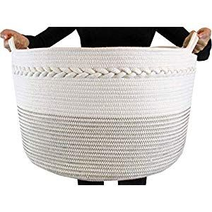 Cotton Rope Storage Basket Premium Decorative Woven Basket Great As Laundry Basket Blanket Basket Laundry Hamper Kids Dogs Toy Storage Toy Bin Xxl20 X13 In 2020 Dog Toy Storage Laundry Basket