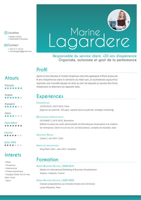 Cv Traditionnel Exemplaire Modele Cv Nationalite Francaise Site Cv