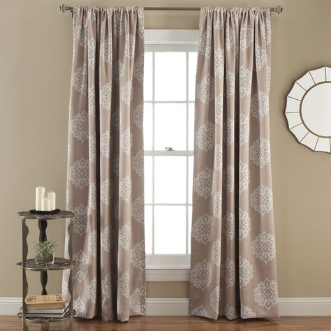 Lush Decor Sophie Blackout Curtain Panel Pair Taupe Brown