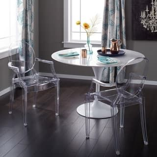Corvus Irene Modern Clear Acrylic Dining Chair With Armrests Set