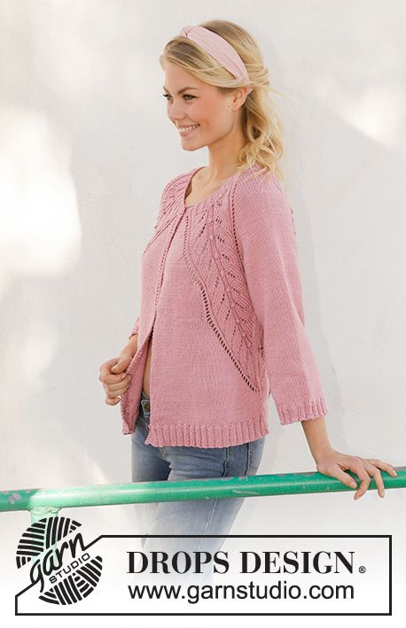 Knitted Jacket With Raglan In Drops Muskat Piece Is Knitted Top Down With Lace Knitting Patterns Free Sweater Knitting Patterns Free Cardigans Jacket Pattern