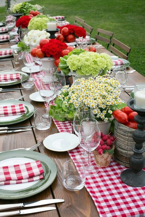 Red Gingham Summer Outdoor Tablescape Summer Outdoor Decor Summer Tables Beautiful Table Settings