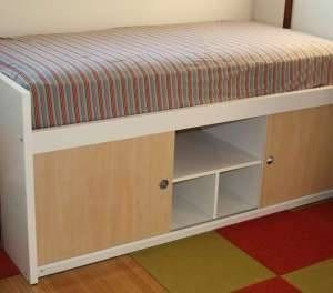 200 Used Ikea Bangsund Elevated Twin Bed With Storage Shelves Underneath Stuff For My Boys Pinterest Beds And Twins