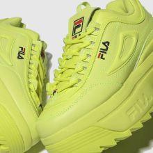 fila lime disruptor ii platform trainers | Neon shoes, Wedge