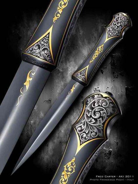 Looks like some Assassin's Creed type blade. Love it Black Dagger Brotherhood, Pretty Knives, Cool Knives, Swords And Daggers, Knives And Swords, Lame Damas, Knife Art, Arm Armor, Fantasy Weapons