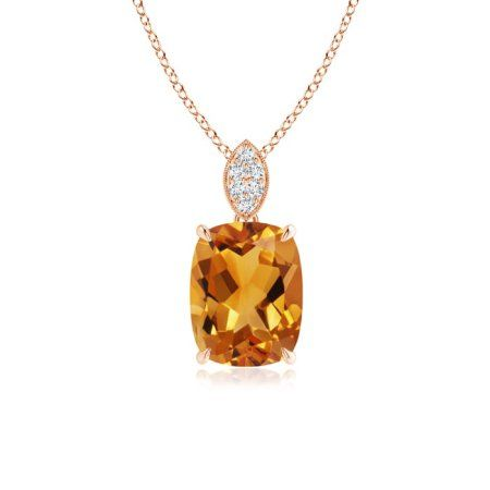 14kt Gold Smoky Quartz 5x3mm Emerald/_Cut Solitaire Pendant