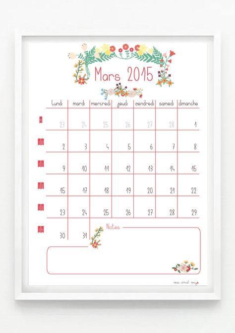 #Calendrier de Mars 2015 à télécharger gratuitement sur le blog ! #flower #champêtre #calendar http://meandmytriangles.blogspot.fr/2015/02/calendrier-mars-2015-printable-inside.html