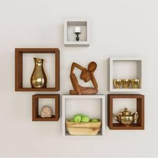 Wallz Art Square Mdf Wall Shelf Wall Mounted Shelves Wall Shelves Wooden Wall Shelves
