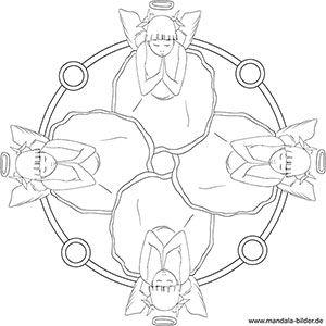 Mandala Ausmalbild Engel Betet Mandala Zum Ausdrucken Ausmalbilder Mandala Mandalas Zum Ausdrucken