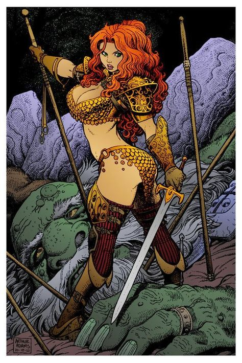 Art by Arthur Adams. Red Sonja 4 by Arthur Adams Fantasy Girl, Fantasy Warrior, Fantasy Women, Dark Fantasy, Red Sonja, Comics Anime, Bd Comics, Image Comics, Comic Book Artists