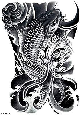 1 Pc Fashion Waterproof Temporary Tattoo Full Back Body Art Tattoo Stickers On Back 4 Dragon Koi Tattoo Design Koi Tattoo Design Koi Dragon Tattoo