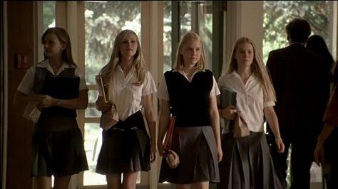 Inspiration: The Virgin Suicides The Virgin Suicides, Private School Uniforms, Private School Girl, Boarding School Aesthetic, Teen Movies, Cult Movies, Sofia Coppola, Old Money, Wattpad