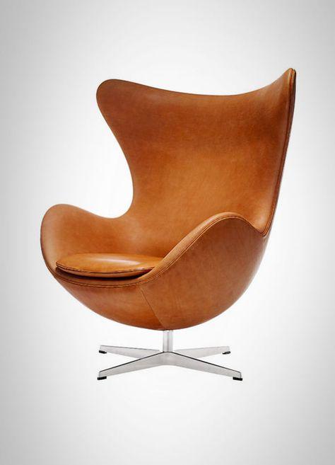 Egg Chair Bruin Leer.Arne Jacobsen The Egg Chair Classic Maar Supervet In Naturel