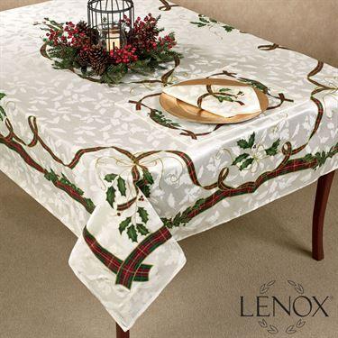 Lenox Holiday Nouveau Holly Table Linens Christmas Table Cloth