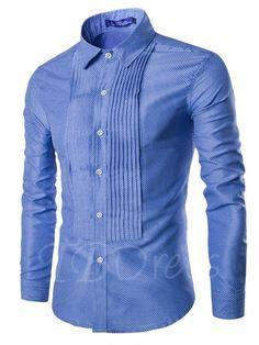 Unique Wrinkle Lapel Men's Leisure Shirt - m.tbdress.com