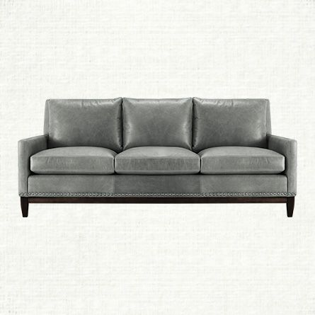 Dante Leather Sofa In Libby Sky