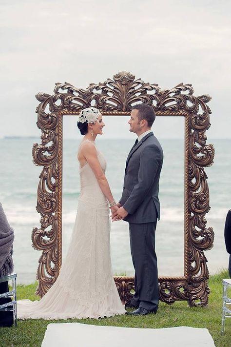Stunning ornate vintage frame by Dream wedding ceremonies, Sunshine Coast, Queensland, Australia.  www.dreamweddingceremonies.com.au