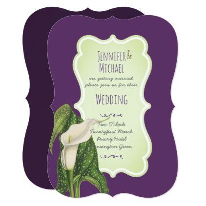 Calla Lily Wedding Invitations Purple Mint Green Chic Design