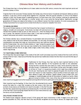 Chinese New Year History And Evolution Reading Comprehension Worksheet Reading Comprehension Worksheets Reading Comprehension Comprehension Worksheets