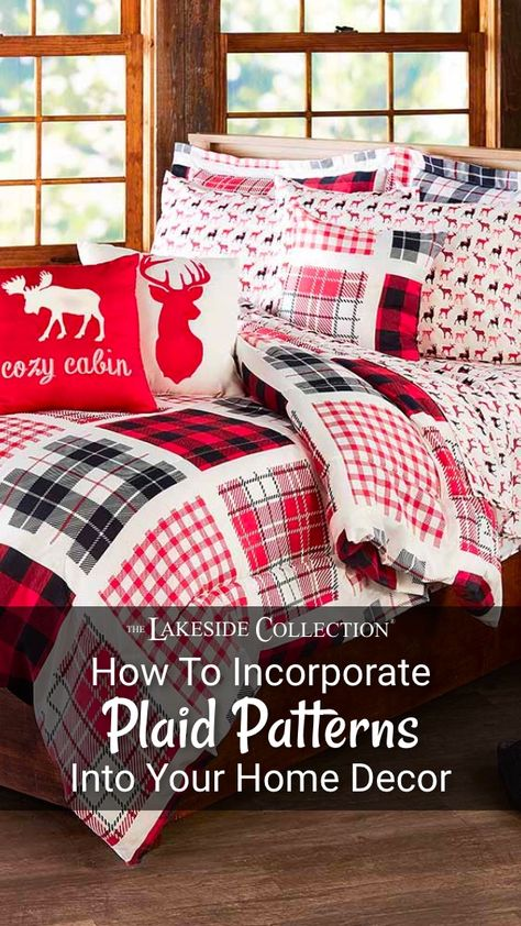 Plaid home decor can be incorporated throughout your house. With subtle accents, warm fabrics,  natural colors, you can create a tasteful plaid theme. #plaid #christmasplaid #holidayplaid #madaboutplaid