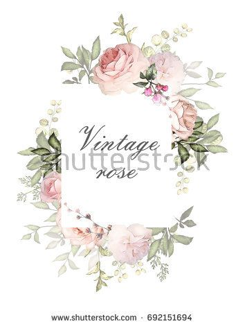 Vintage Card Watercolor Wedding Invitation Design With Pink Roses