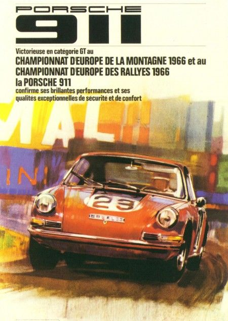 Vintage Porsche 911 French Motor Racing Poster A3//A4 Print