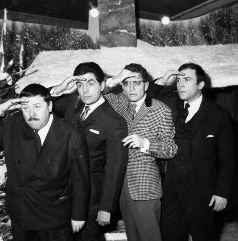 Robert Doisneau // Francis Blanche, Roger Pierre, Darry Cowl et Jean-Marc Thibault, c. 1960. ( http://catalogue.gazette-drouot.com/html/d/recherche.jsp?numPage=2&_exact=&filterDate=2&email=&query=+robert+doisneau&npp=50