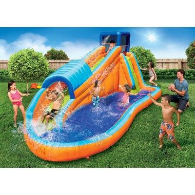 Banzai Kids Oversized Backyard Inflatable Surf Rider Aqua Park With Blow Motor Water Slides Backyard Inflatable Water Slide Water Fun